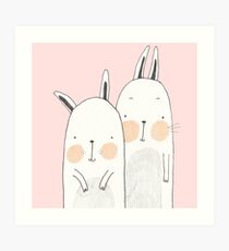 Two rabbits in love Art Print