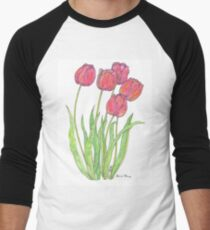 Dusty Pink Tulips - Water Color Men's Baseball ¾ T-Shirt