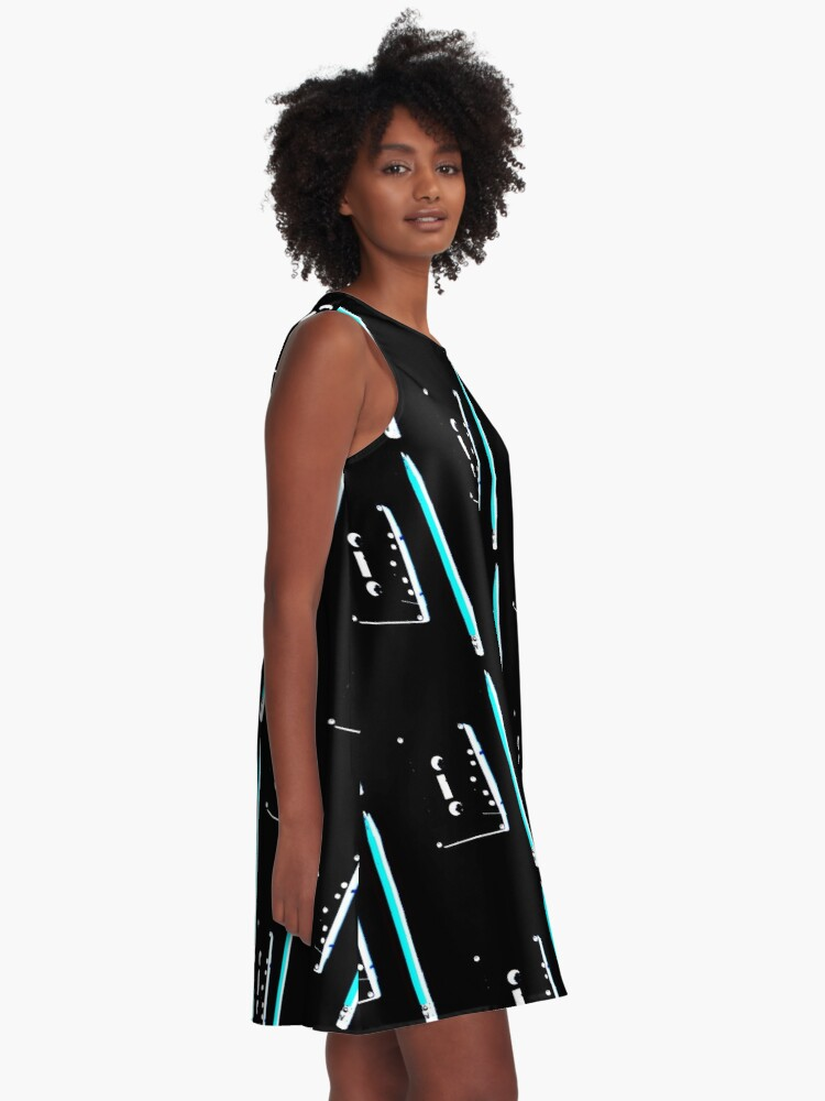Alternate view of tape and pencil 80s vaporwave A-Line Dress
