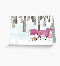 A mom fox with her child Greeting Card