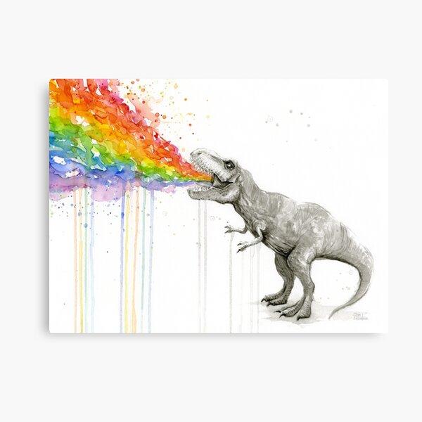 T-Rex Rainbow Puke  Canvas Print