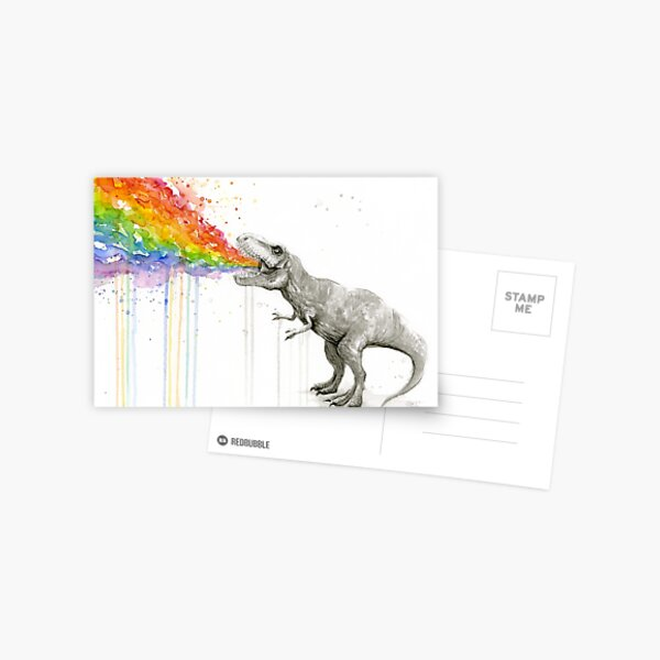 T-Rex Rainbow Puke  Postcard