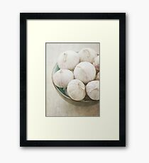 Still life of garlic in a bowl Framed Print