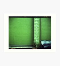 Blue Couch Green Wall Art Print
