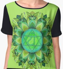 Green Mandala Heart Chakra Anahata with Butterflies Chiffon Top