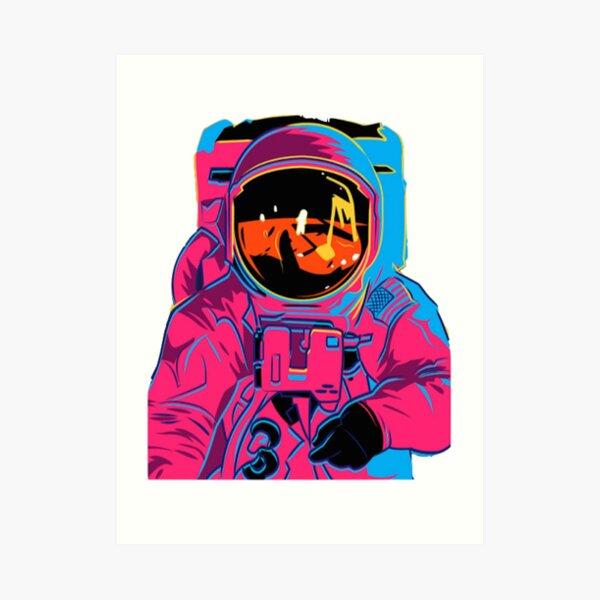 Trippy rainbow Astronaut Art Print
