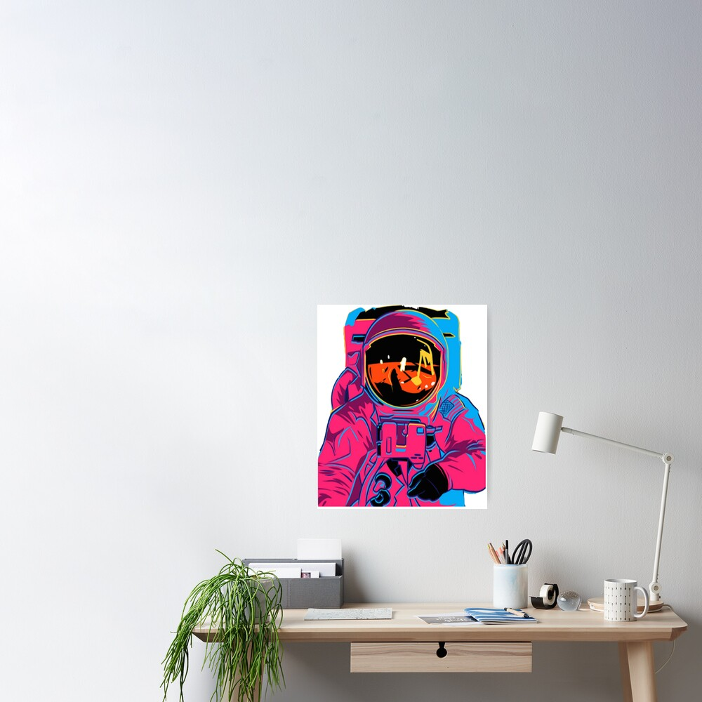Trippy rainbow Astronaut Poster