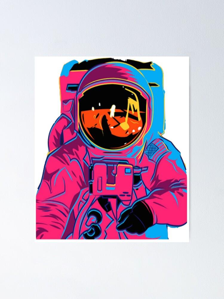 Alternate view of Trippy rainbow Astronaut Poster