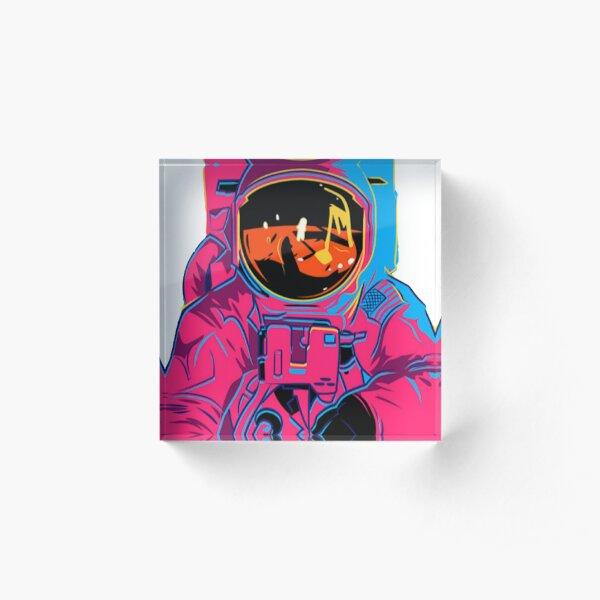 Trippy rainbow Astronaut Acrylic Block