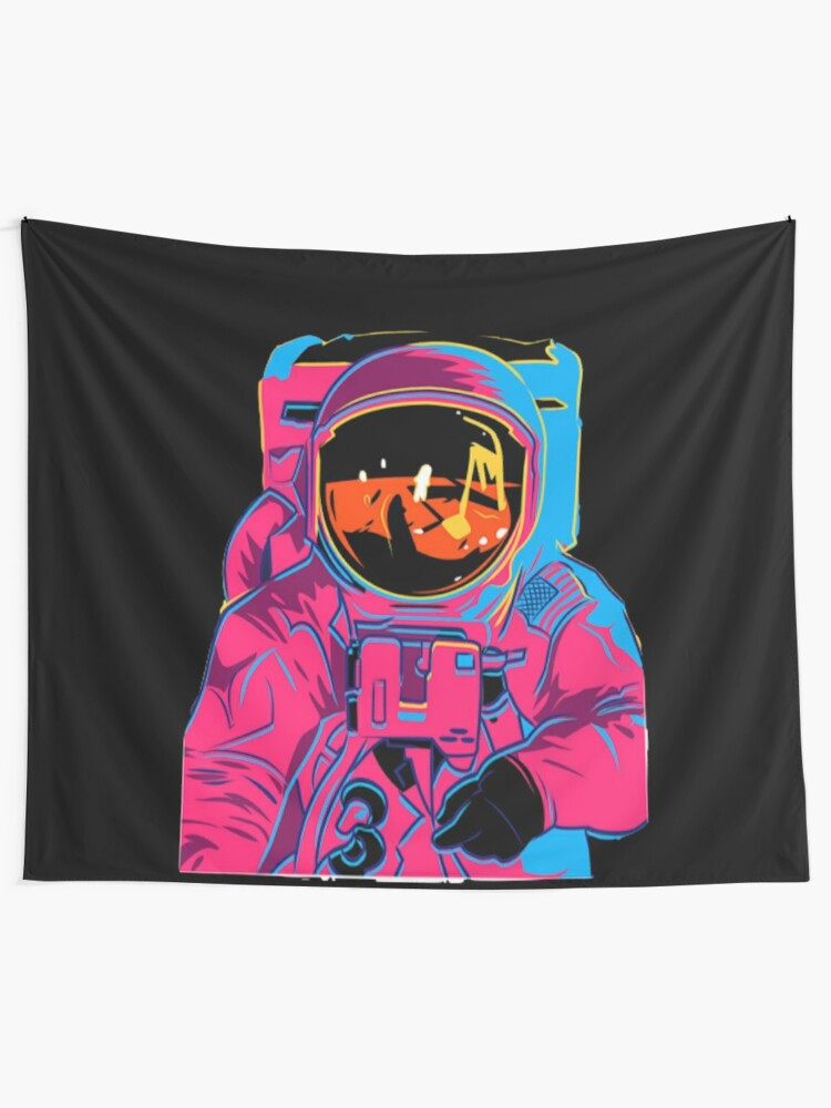 Alternate view of Trippy rainbow Astronaut Tapestry