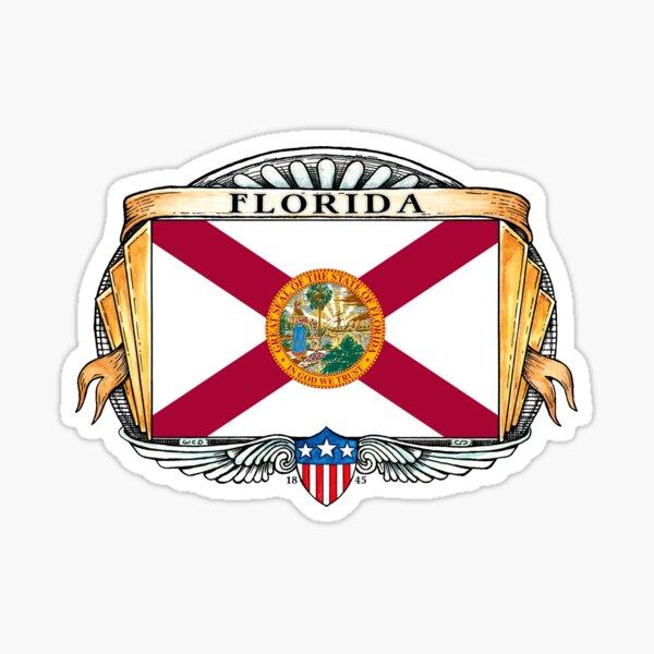 Florida Art Deco Design with Flag Sticker