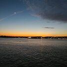Sunset, Night, Water, Bridge by znamenski