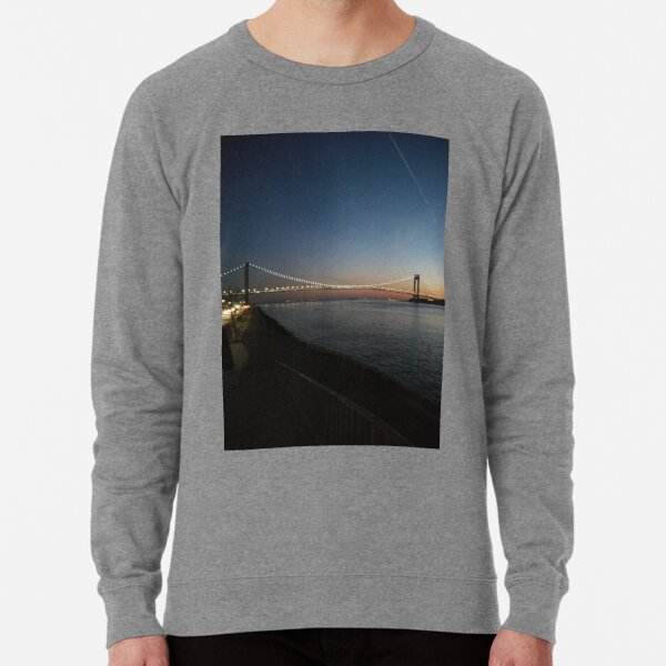 Sunset, Night, Water, Bridge Lightweight Sweatshirt