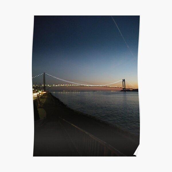 Sunset, Night, Water, Bridge Poster