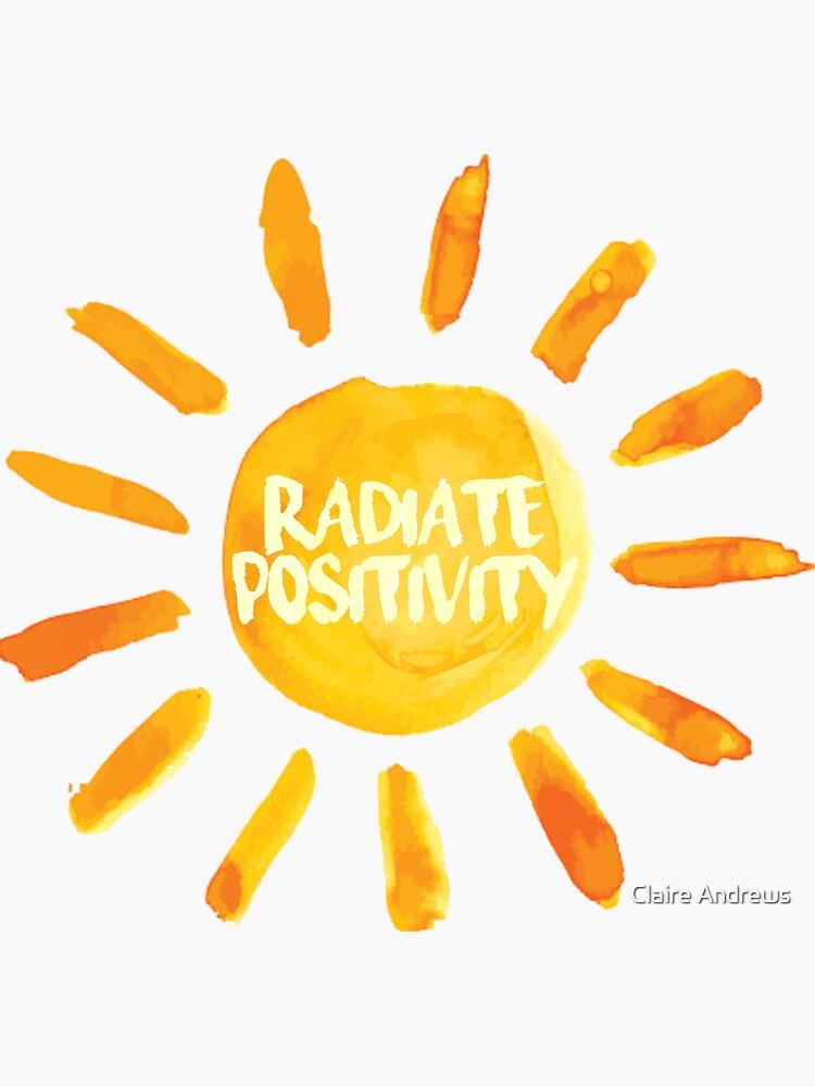 Etiqueta engomada pintada sol de Radit Positivity de Claireandrewss