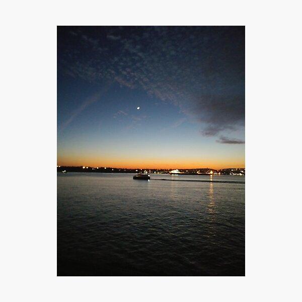Sunset, Night, Water, Bridge Photographic Print