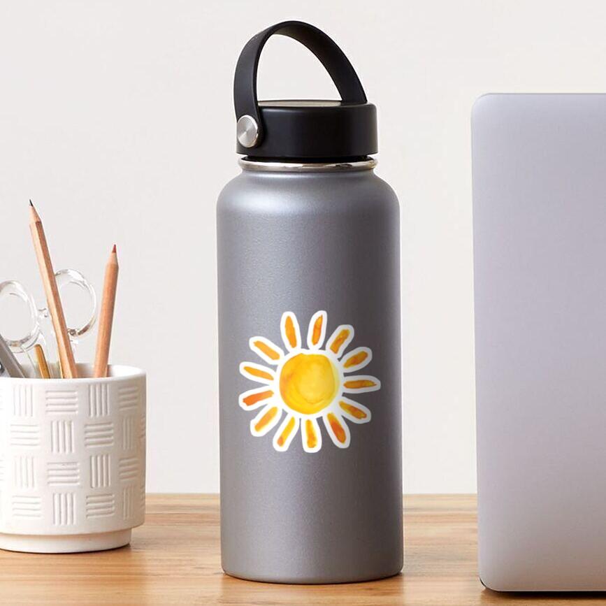 Gebürstete Aquarell gemalte Sonne Sticker