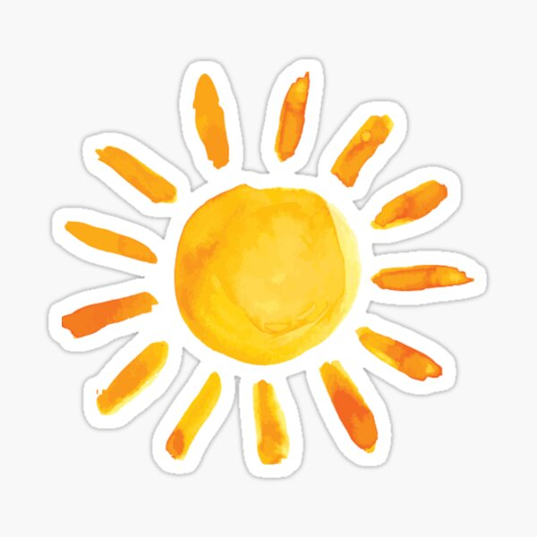 Brushed Watercolor Painted Sun Sticker