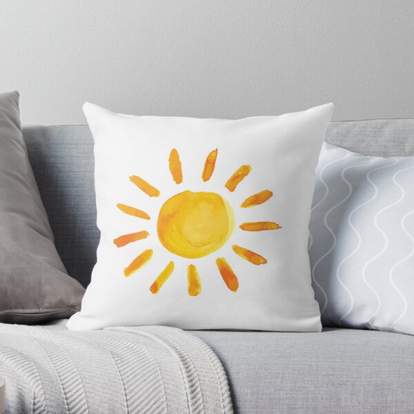 Brushed Watercolor Painted Sun Throw Pillow