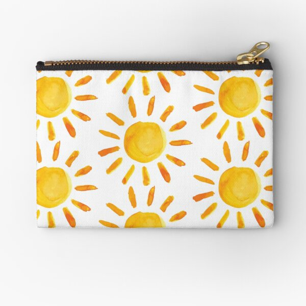 Brushed Watercolor Painted Sun Zipper Pouch