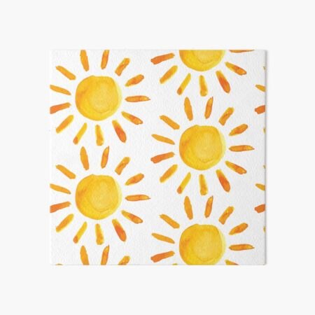 Brushed Watercolor Painted Sun Art Board Print