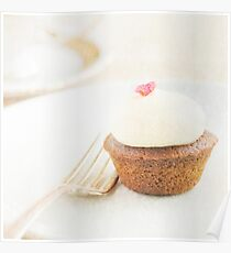 Cupcake on a plate with fork Poster