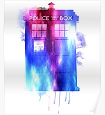 Watercolor Tardis Poster