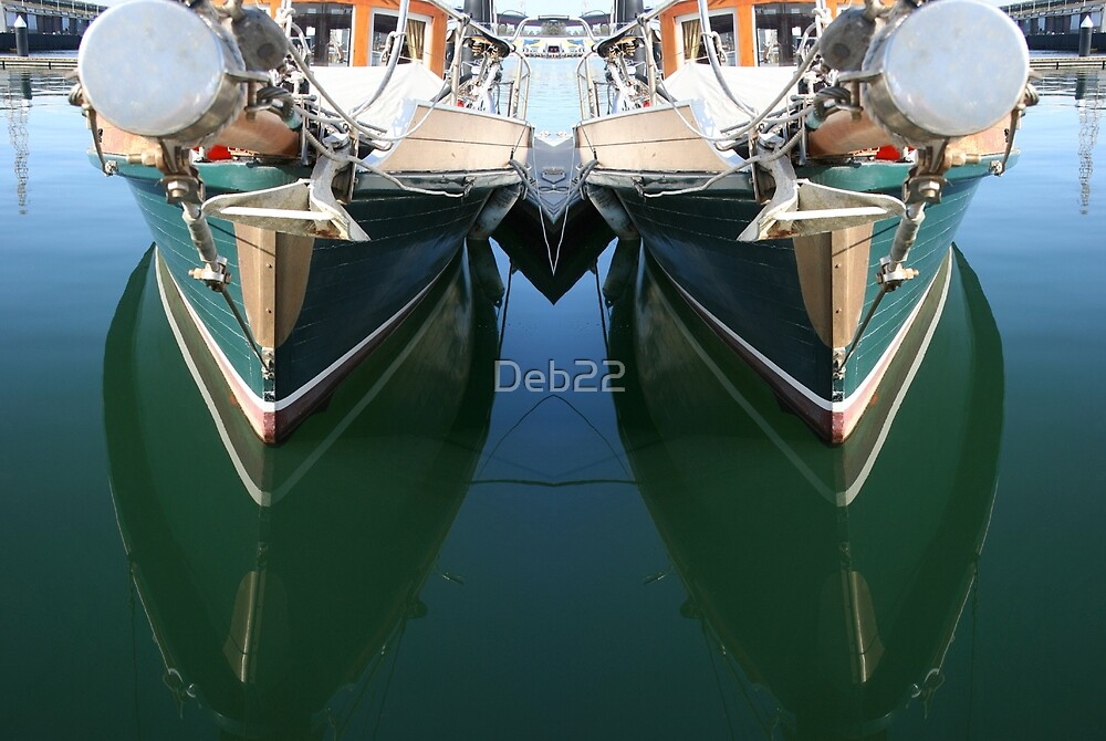 Reflections of a wooden sailing yacht, Melbourne by Deb22