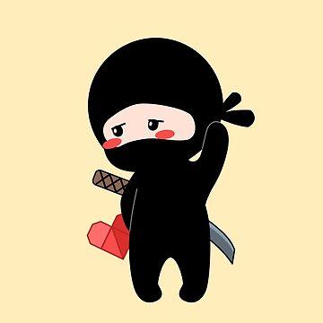 Tiny Ninja Holding Origami Heart by chibibikun