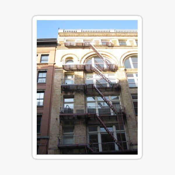 Building, windows, fire escape, floors, New York City Sticker