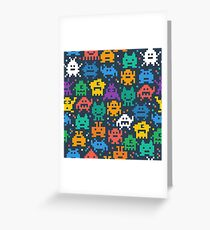 Retro video game monsters pattern Greeting Card