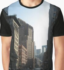 New York, Street, Buildings, Cars, Windows, Sun Light Graphic T-Shirt