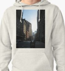 New York, Street, Buildings, Cars, Windows, Sun Light Pullover Hoodie