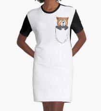 Red Panda Pocket Shirt Design Graphic T-Shirt Dress