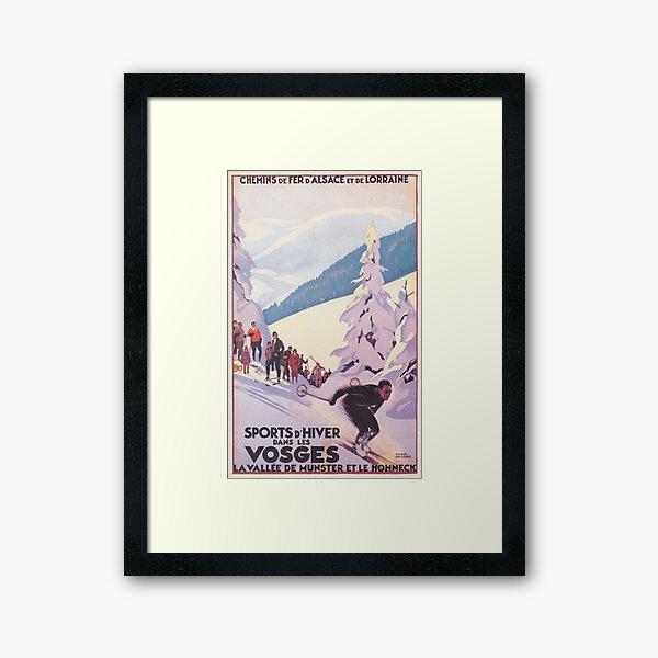 Vosges, France Affiche de voyage de ski vintage Impression encadrée