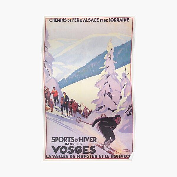 Vosges, France Affiche de voyage de ski vintage Poster