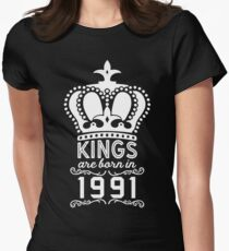 Birthday Boy Shirt - Kings Are Born In 1991 Women's Fitted T-Shirt