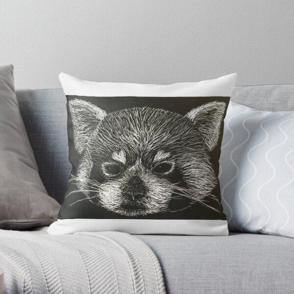 Scratchboard Racoon Throw Pillow
