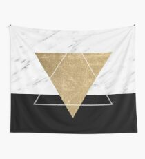 Golden marble deco geometric Wall Tapestry
