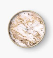 Golden smudge - blush marble Clock