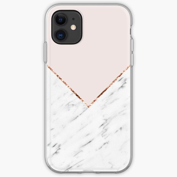 Peony blush geometric marble iPhone Soft Case