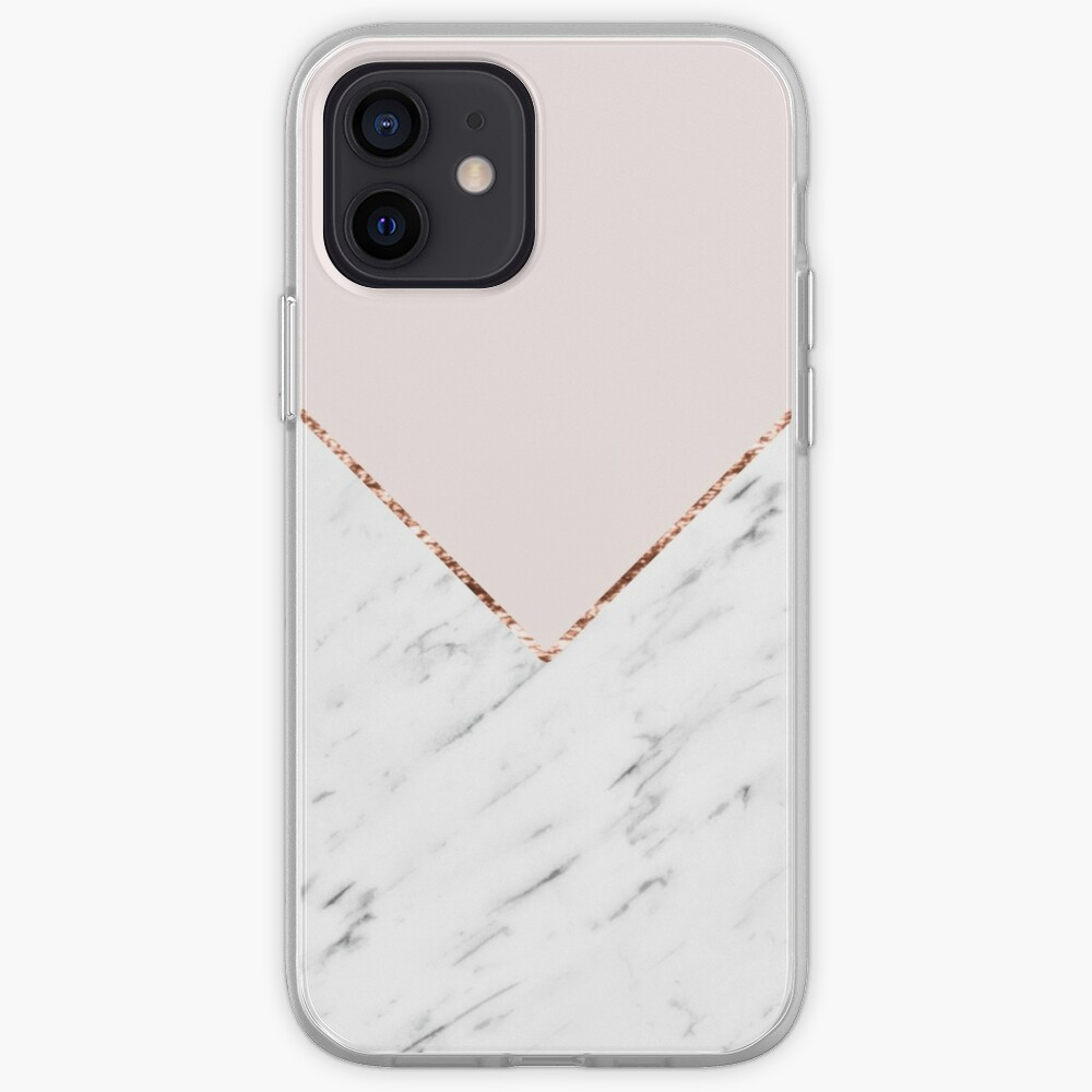 Peony blush geometric marble iPhone Case & Cover