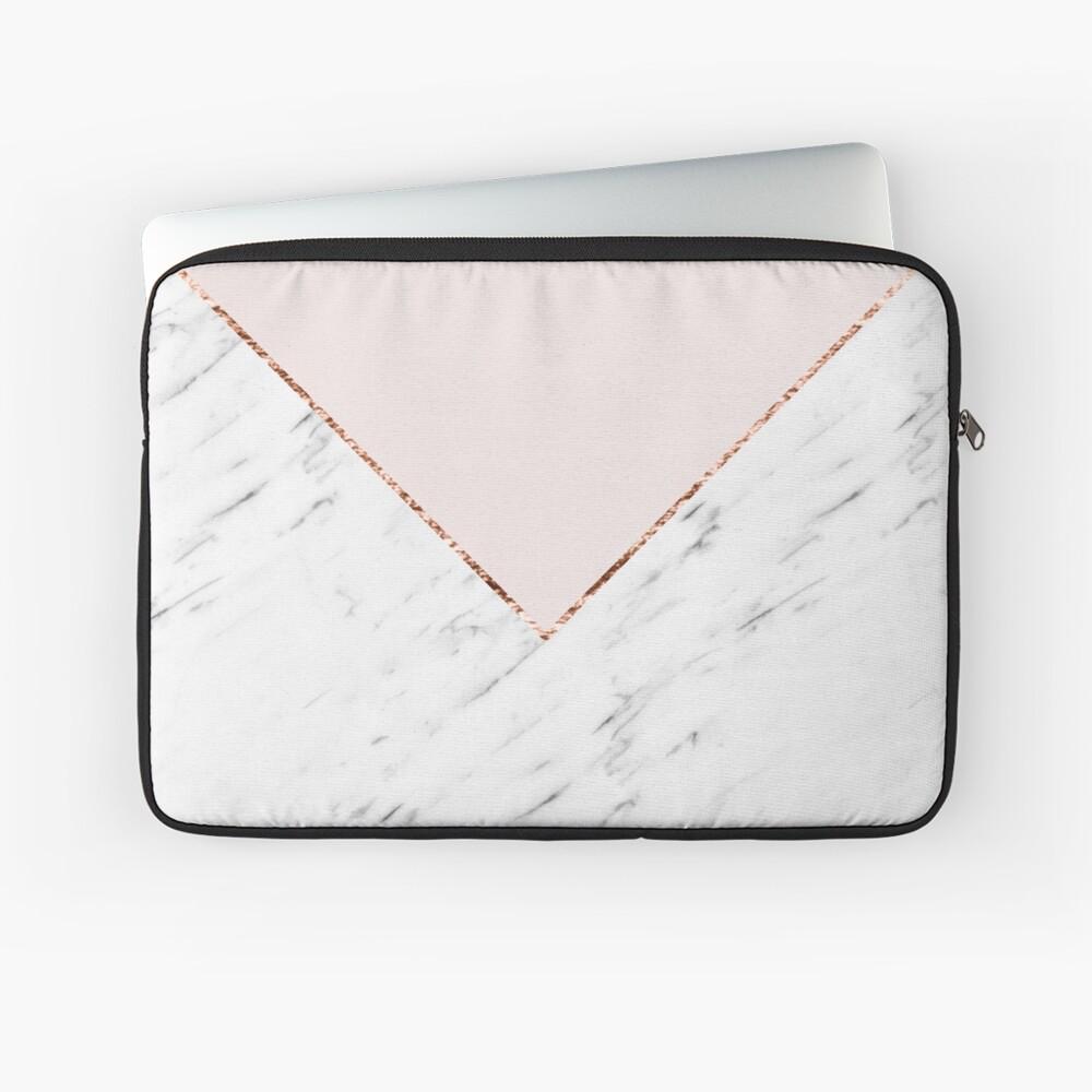 Pfingstrose errötet geometrischen Marmor Laptoptasche