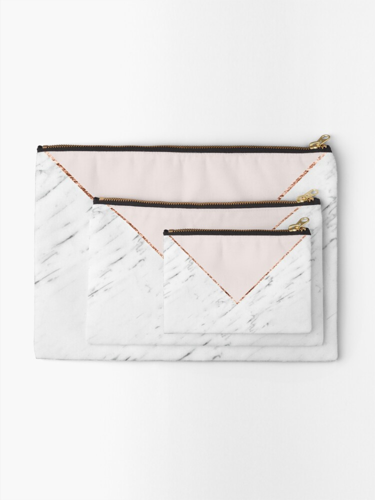 Alternate view of Peony blush geometric marble Zipper Pouch