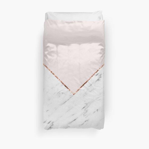 Peony blush geometric marble Duvet Cover