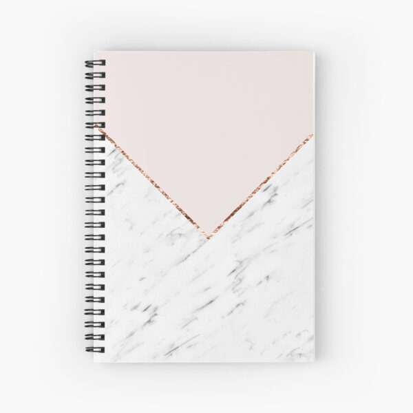 Peony blush geometric marble Spiral Notebook