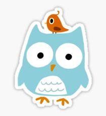 Blue Owl with Little Orange Bird Sticker
