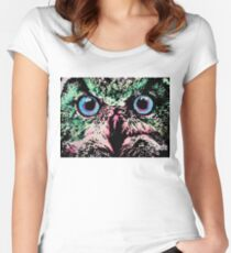 Owl by Oddly Artistic  Women's Fitted Scoop T-Shirt