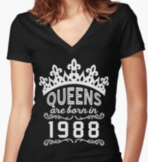 Birthday Girl Shirt - Queens Are Born In 1988 Women's Fitted V-Neck T-Shirt