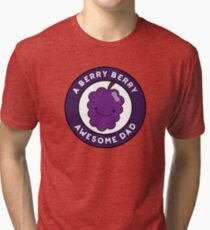 Berry Berry Awesome Dad Funny Fruit Pun Tri-blend T-Shirt